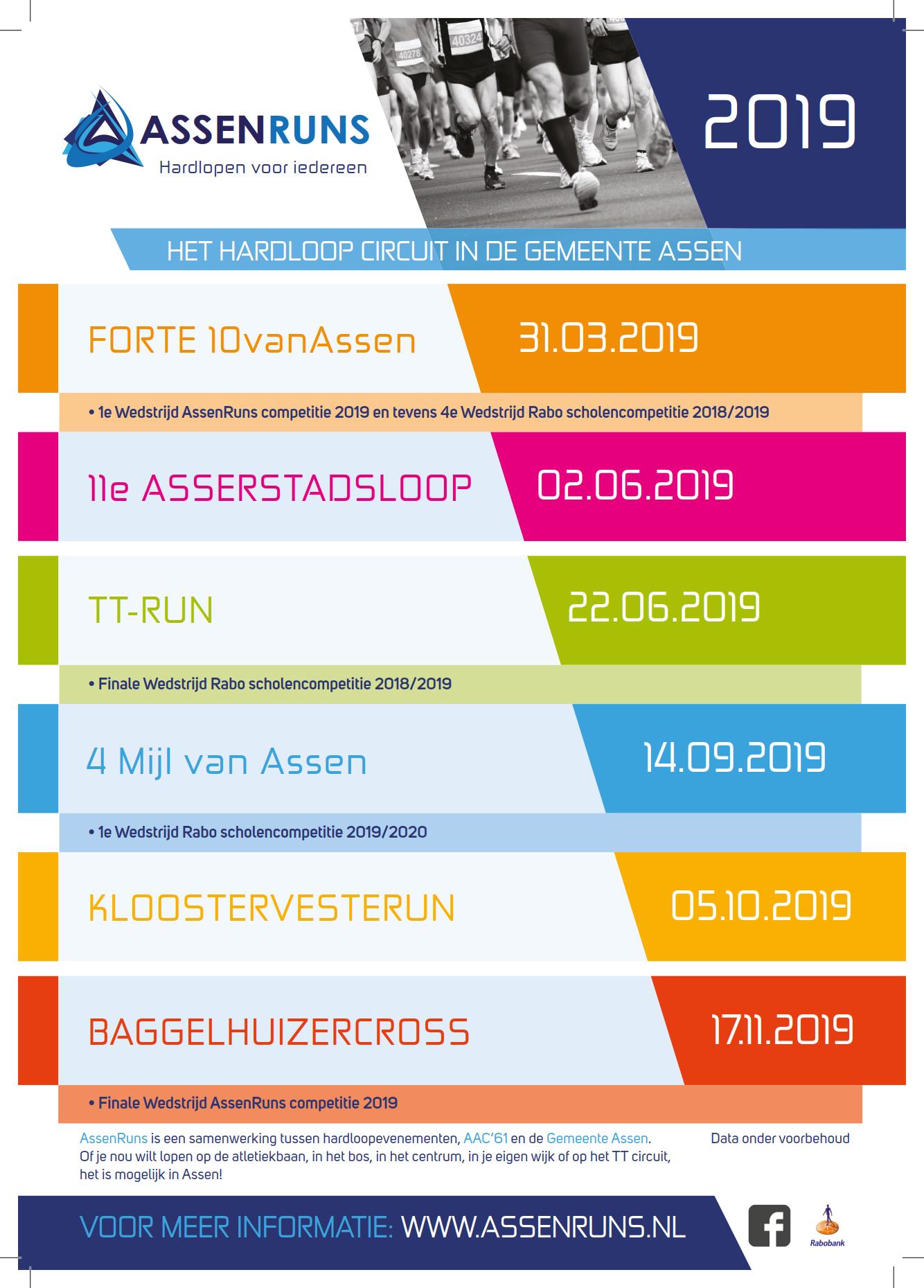 Agenda AssenRuns 2019 is bekend