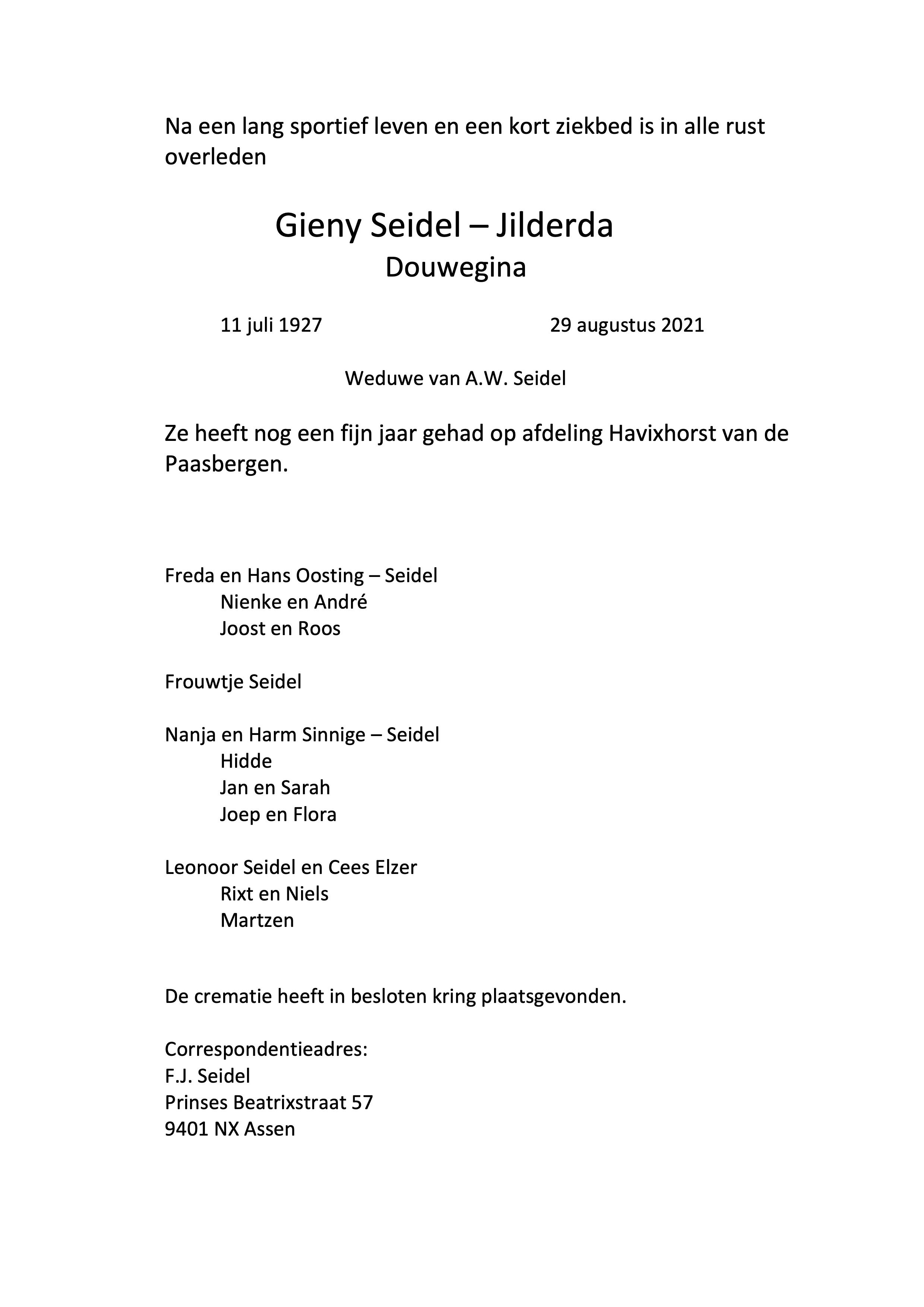 AAC'61 mede-oprichtster Gieny Seidel overleden